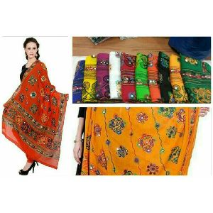 Cotton Hand Embroidered Dupatta