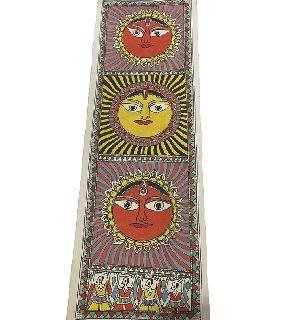 Traditional Madhubani Painting Depicting Sun Flower