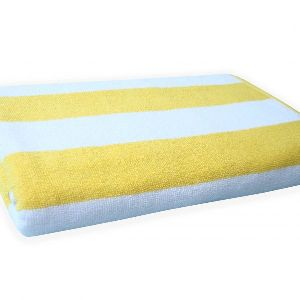 Divine Overseas 1 Piece Super Soft Cotton Bath Towel 550 Gsm Cabana Stripes (yellow)