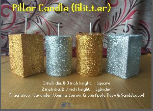 Glitter Candle Many Colours Available