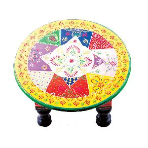 Royal Round Rajasthani Embroidered Stool