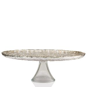 Footed Cake Plate Grey Silver