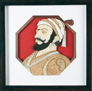 Wooden Shivaji Maharaj Carving