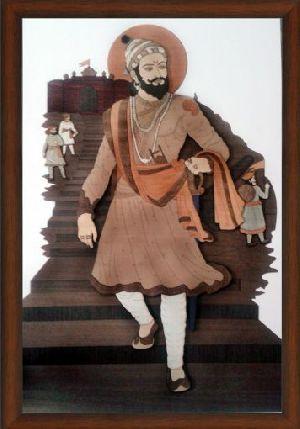 Wooden Shivaji Raje Carving