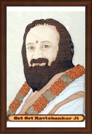 Wooden Shri Shri Ravishankar Ji Carving