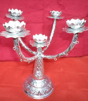 5 Candles Silver Plating Candle Stand