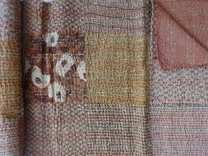 Hand Block Print Kantha Quilt With Patchwork