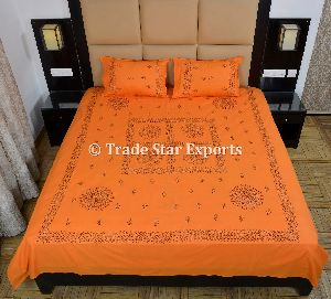 Handmade Embroidery Floral Print Bedspread