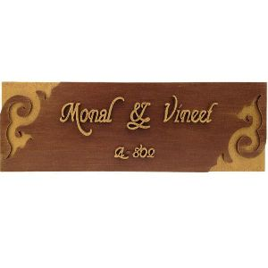 Bh-nm-33-000 Rectangular Two Toned Wooden Name Plate