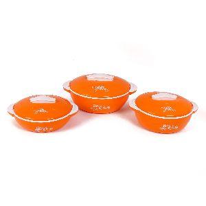 Jayco Fine Dine Three Piece Orange Casserole Set
