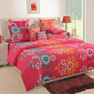 Swayam 120 Tc Cotton Red Double Bedsheet Set
