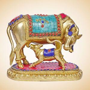 Brass Cow Feeding Calf Statue