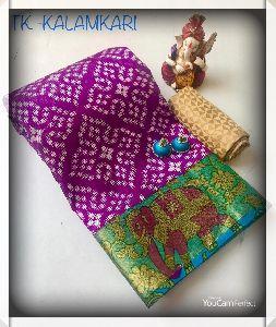 Chanderi Cotton Tussar Silk Saree