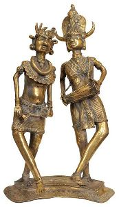 Brass Dancing Tribal Couple Statue