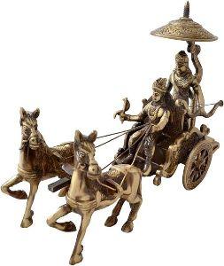 Brass Krishna Arjun Rath Statue