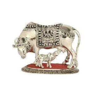 Silver Aluminium Cow Statue