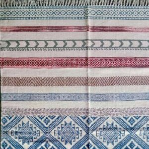 Indian Handmade Flat Weave Cotton Block Printed Rug Carpet