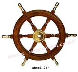 Wooden Ship Wheel W/brass Handle