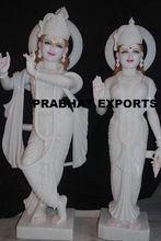 White Marble Hand Carved Radha Krishna Statue