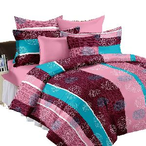 Pure Cotton Floral Printed Bed Sheet With Pillow Cases