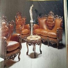 Wooden Carving Leather 5 Seater Sofa Set