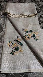 Tissue Linen Embroidery Sarees