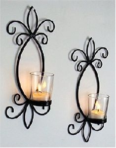 Wrought Iron Wall Mounted Candle Stand