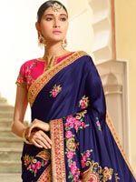 Dazzling Blue Art Silk Saree