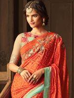 Dazzling Orange And Red Silk Saree