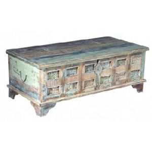 Vintage Indian Old Antique Reclaimed Teak Wood Carved Coffee Table