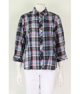 Ladies Cotton Y/d Check Shirt With 3/4 Sleeves