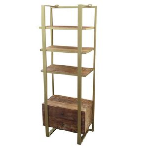 Iron Wooden Drawer Book Shelf
