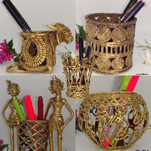 Brass Dhokra Pen Stands