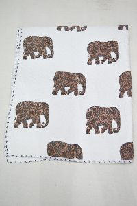 Animal Print Design Kantha Baby Cotton Filled Blankets