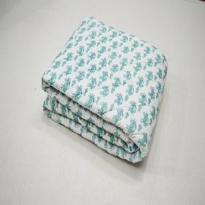 Hand Block Print Baby Kantha Quilt Animal Design