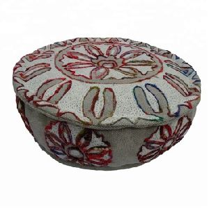 Indian Cotton Embroidered Decorative Foot Rest Pouffe Round Ottoman Pouf