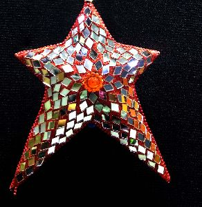 Handmade Red Glass Work Star Christmas Tree Hanging Ornament