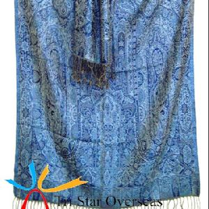 Kashmiri styles silk wool scarf in jacquard patterns