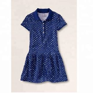 Girls dot printed polo dress