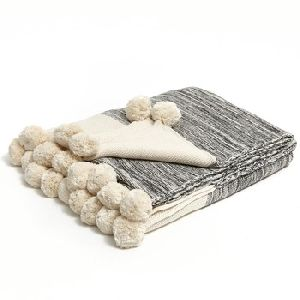 Home Use and Plain Style cotton knitted throw blanket