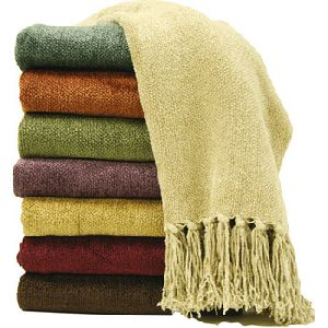 Solid color chenille throw