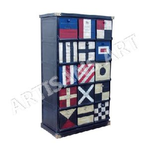 Vintage Industrial Iron Hand Flag Painted Storage Cabinet