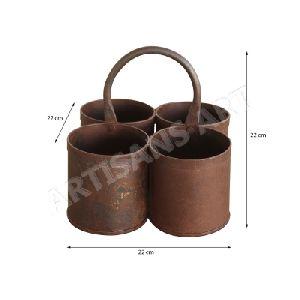 Vintage Rustic Tribal Iron Serving Pot, Antique Old Iron Holder