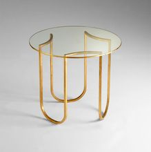 Side Table With Clear Glass In Gold
