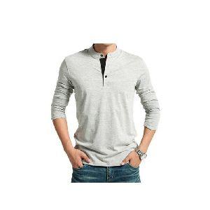 Cotton Long Sleeve Henley T Shirt