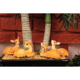 Wonderland 2 Inches Set Of 4 Bonsai Decoration Mini Deer
