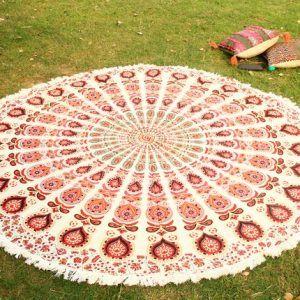 Boho Beach Throw Roundie Hippie Yoga Mat Gypsy Beach Towel Tassel Fringing Roundie