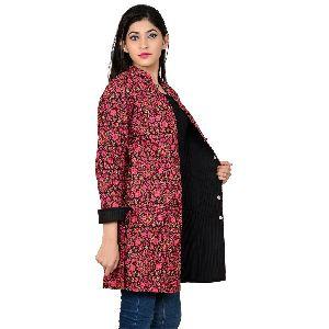 Ethnic Floral Women Wear Coat Reversible Block Prints Jacket