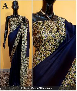 Printed Crepe Silk Saree