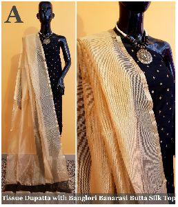 Tissue Dupatta With Banglori Banarasi Silk Top Dress Material